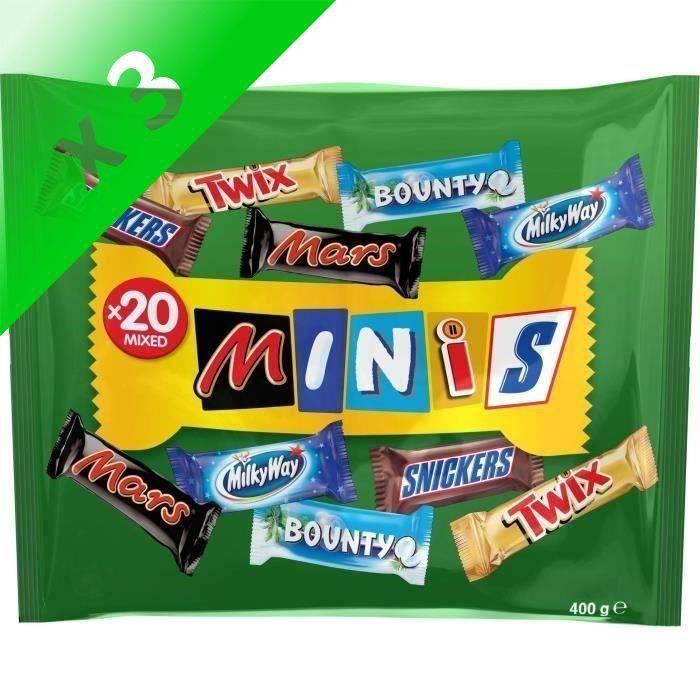 [LOT DE 3] MARS Minis Mix Chocolats au lait fourrés de confiserie et de caramel avec des cacahuètes - 400 g