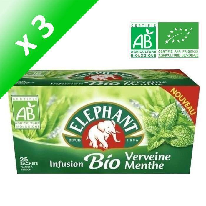 [LOT DE 3] ELEPHANT 25 sachets - Infusions bio verveine menthe