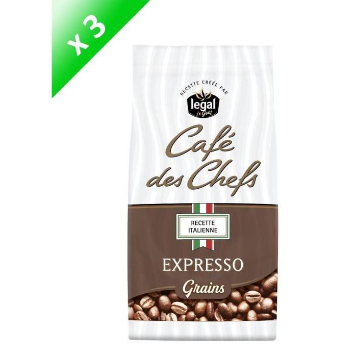 [LOT DE 3] LEGAL Cafés des Chefs Expresso Recette Italienne Grains - 500 g