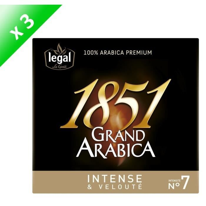 [LOT DE 3] LEGAL Cafés Grand Arabica 1851 Intense Moulu - 2 x 250 g