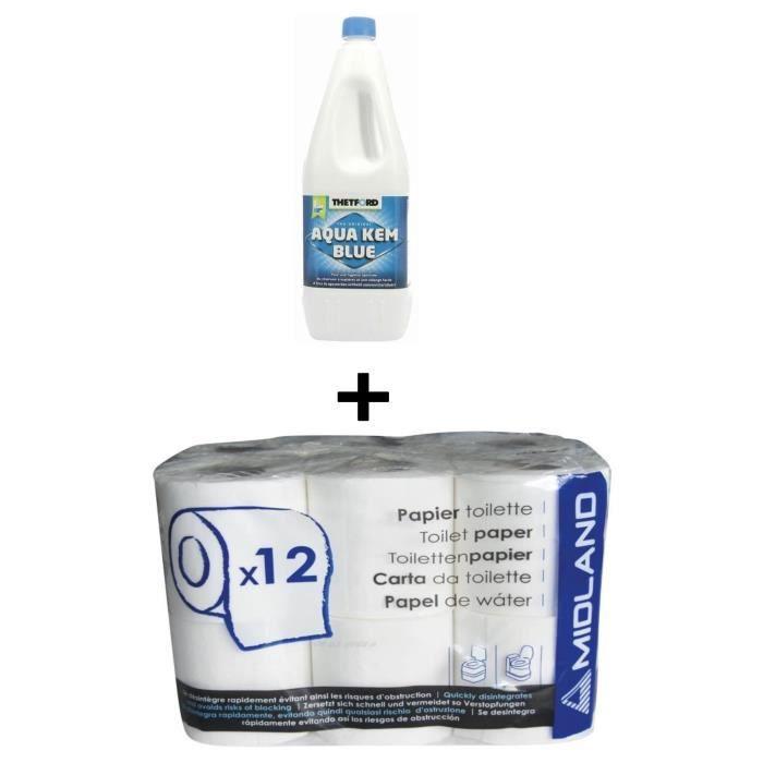 THETFORD Liquéfiant WC Chimique Aqua Kem bleu 2 Litres + Papier toilette WC chimique 12 rouleaux