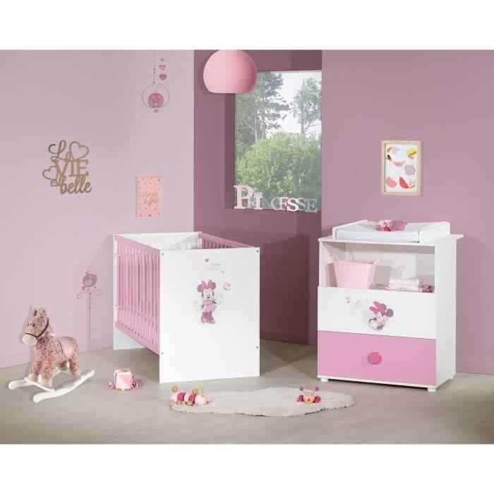 MINNIE Duo Commode à langer et lit bébé 60x120 cm - Disney Baby