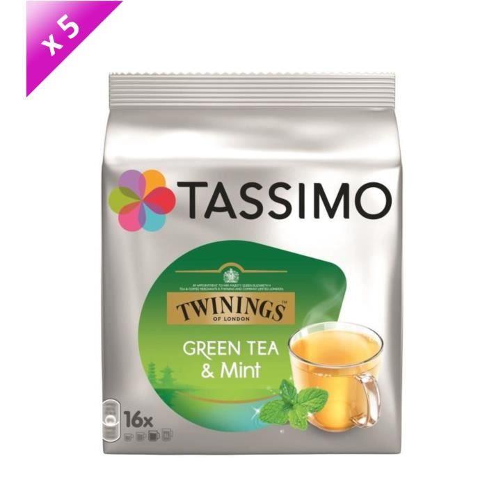 Lot de 5 - Tassimo Twinnings Thé vert menthe en dosettes x16 - 40g