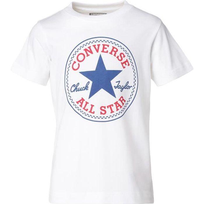 CONVERSE T-shirt manches courtes - Blanc - Enfant Mixte