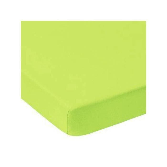 Drap housse 160 x 200 couleur vert pomme 100% COTON 57 fils