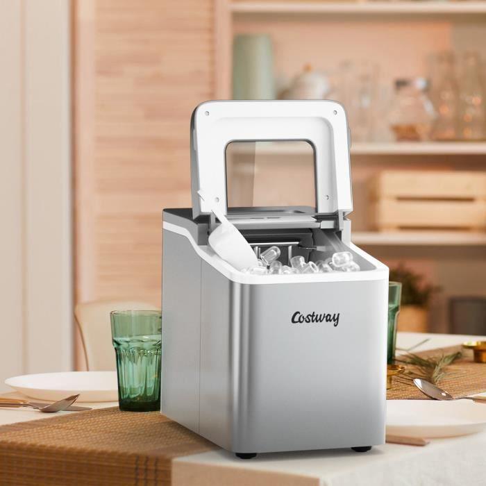 DREAMADE Machine à Glaçons avec Fonction de Nettoyage,Appareil de Préparation de Glace avec Capacité 1,6L,pour Maison,Bureau,Café