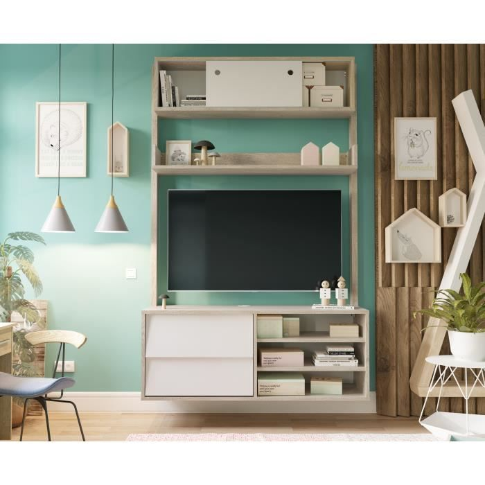 Meuble TV scandinave couleurs chêne et blanc - L 110 cm - HANNAH