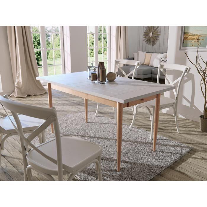 FINLANDEK Table à manger KATTY de 6 à 8 personnes scandinave décor blanc + pieds métal décor bois naturel - L 150 x l 80 cm