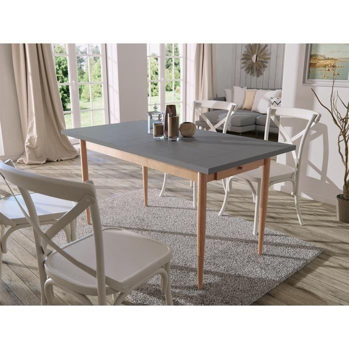 FINLANDEK Table à manger KATTY de 6 à 8 personnes scandinave décor gris foncé + pieds métal décor bois naturel - L 150 x l 80 cm