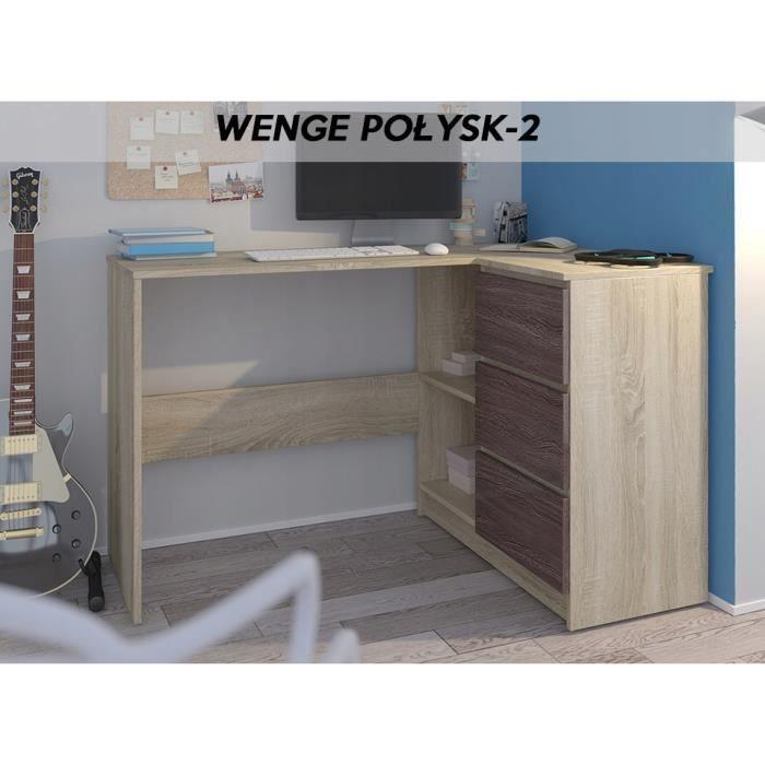 REX S - Bureau d'angle moderne rangements + 3 tiroirs - 112x87x76 cm - Table d'ordinateur - Sonoma Wengé