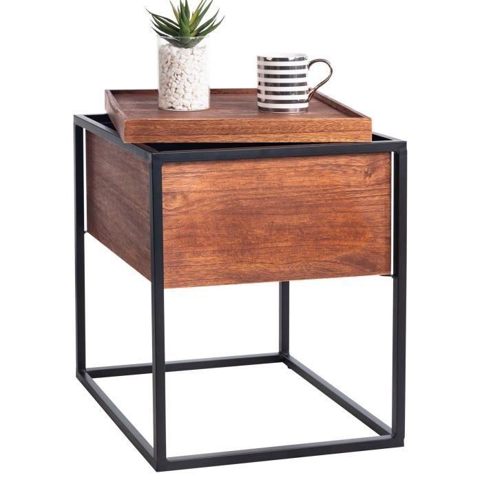 Table basse carré RAMIREZ avec compartiment de rangement table d'appoint en bois brun bout de canapé rétro vintage pied métal noir