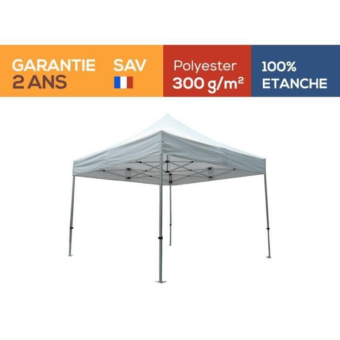 Tente pliante Barnum Tonnelle 3x3m polyester 300g/m² pelliculé PVC tube aluminium 40mm hexagonal Montage minute