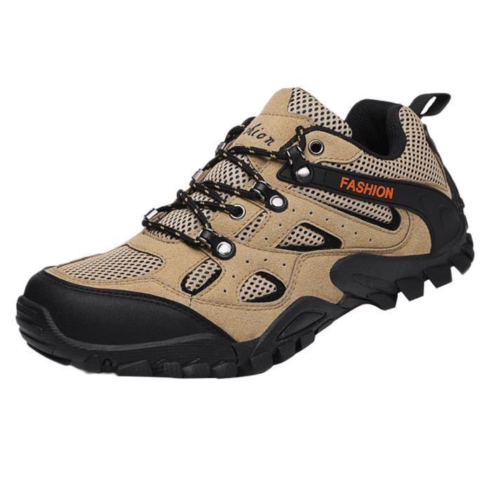 huadedu Hommes Chaussures de randonnée Mesh Sports de plein air Chaussures de marche Chaussures antidérapantes Kaki