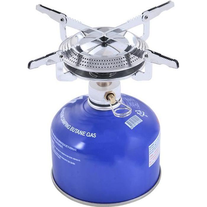 Réchaud portable brûleur pliant Minicamping brûleur four Head Batterie de cuisine pour pique-nique d'argent