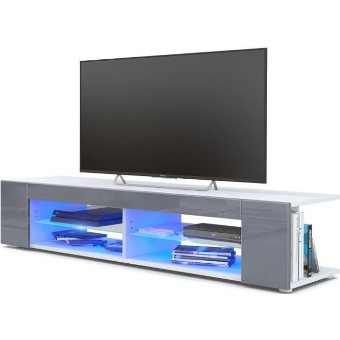 Meuble Tv blanc mat Façades en gris laquées led Bleu