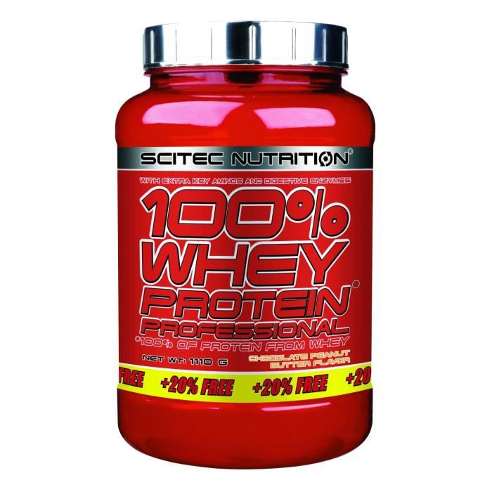 100% Whey Professional 1110g CHOCO PEANUT Scitec (920g + 20% OFFERT)
