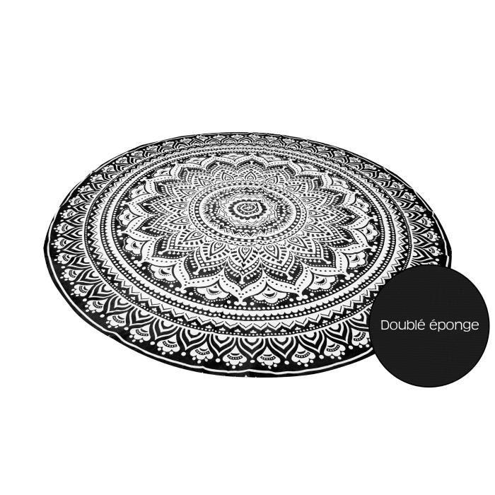 SOLEIL D'OCRE Fouta ronde Mumbai - Coton doublé éponge - Ø180 cm - Noir