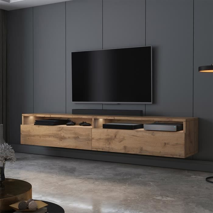 Meuble TV - REDNAW - 180 cm - chêne wotan - 2 niches ouvertes - style moderne - avec LED