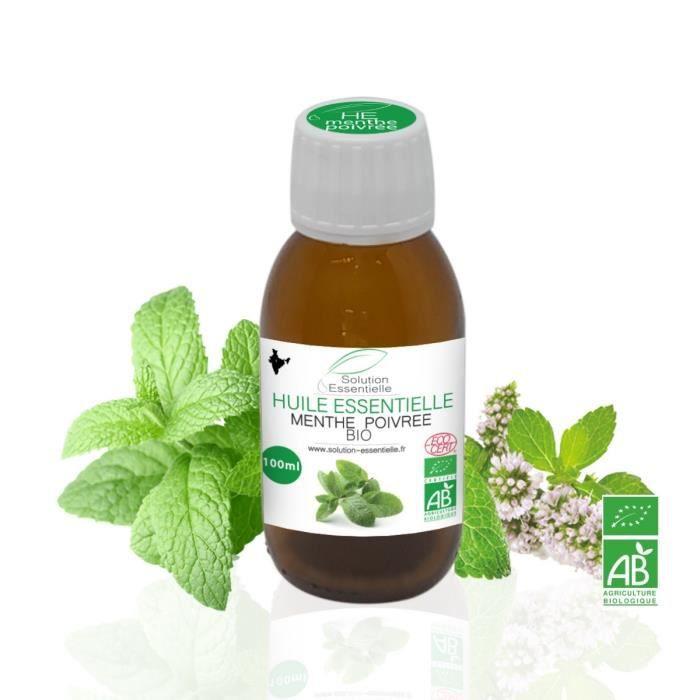 Huile Essentielle BIO de Menthe Poivree 100 ml. Huile chémotypée ABLabel, Ecocert Bio 100 % Pure et Naturelle ENTREPRISE FRANCAISE