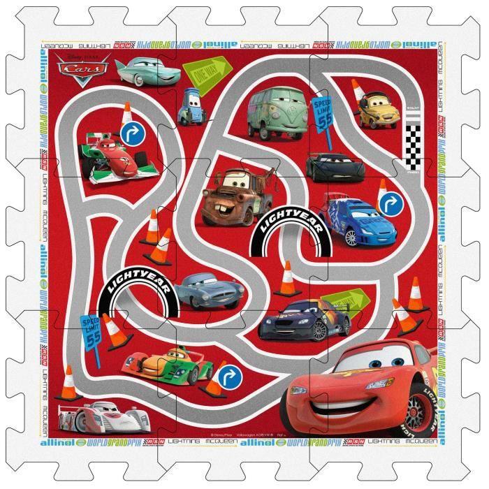 CARS Tapis Puzzle en Mousse avec Sacoche, 9 pièces