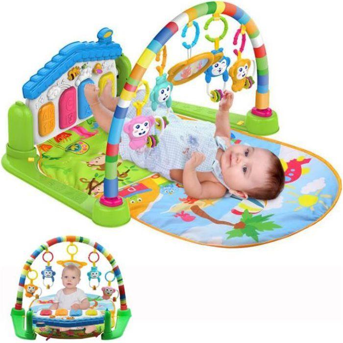 3 en 1 bébé Piano Tapis de jeu Tapis de jeu Musique et lumières Vert