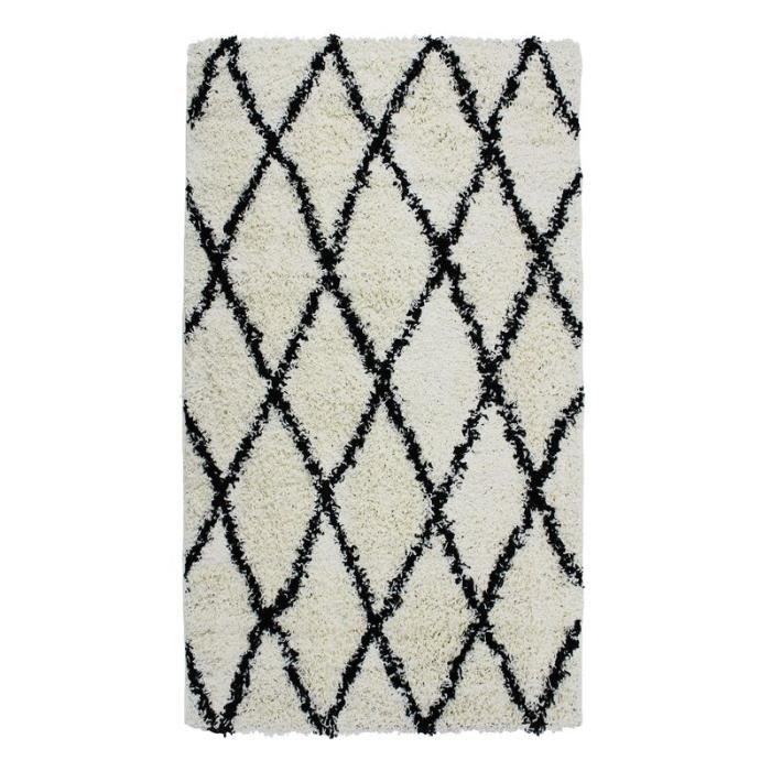 ETHNIC BERBERE - Tapis toucher laineux ethnique écru et noir 80x140