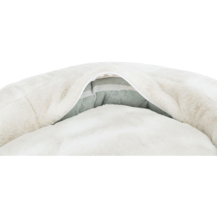 TRIXIE Lit Nelli contour de chat - 58 x 53 cm - Blanc et taupe - Pour chien