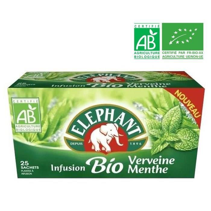 ELEPHANT 25 sachets - Infusions bio verveine menthe