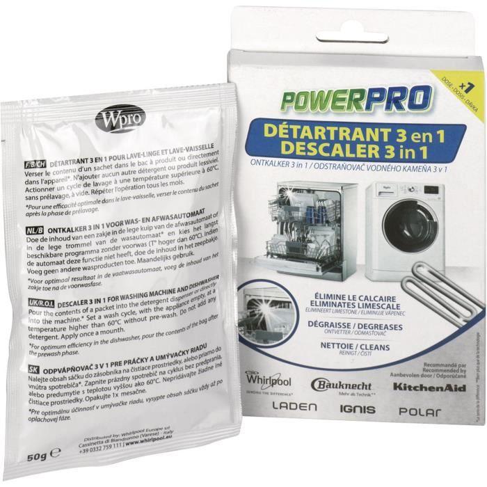 WPRO DIB001 Détartrant 3 en 1 pour lave-linge et lave-vaisselle - 1 sachet monodose