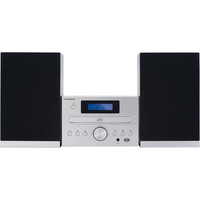 THOMSON MIC122BT - Micro-chaîne MP3/CD/USB - 50W - Bluetooth - 30 stations - Technologie Bass Boost - Silver