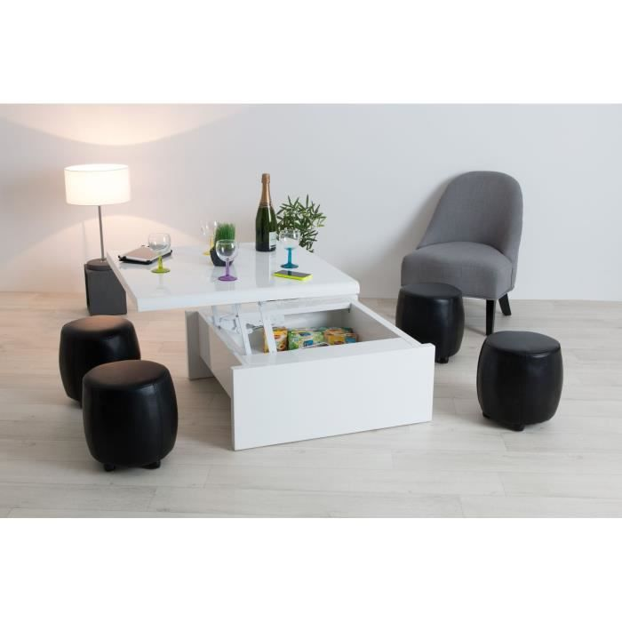 Table relevable carree for Table blanche carree