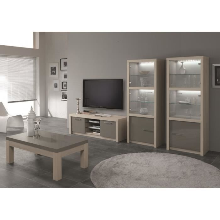 ensemble 2 l ments fano laqu decor ch ne laqu gris table basse rectangulaire meuble t l. Black Bedroom Furniture Sets. Home Design Ideas