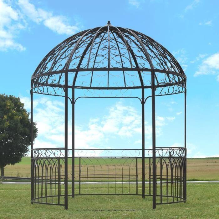 Grande Tonnelle Gloriette pergola de Jardin ronde Fer ø 250 cm hauteur  290cm marron