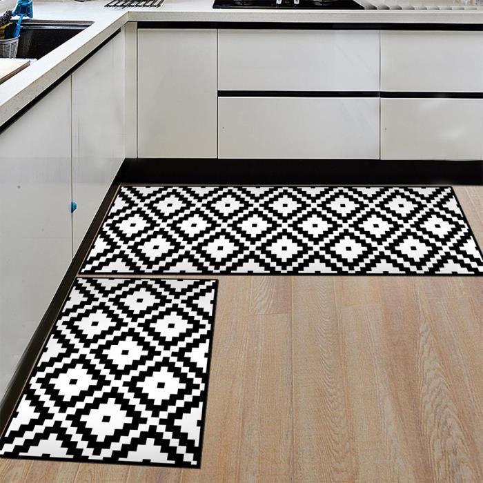 2pcs tapis d entree tapis de cuisine devant evier