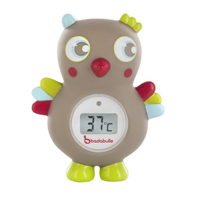 Badabulle thermom tre de bain hibou gris taupe et for Thermometre de chambre bebe