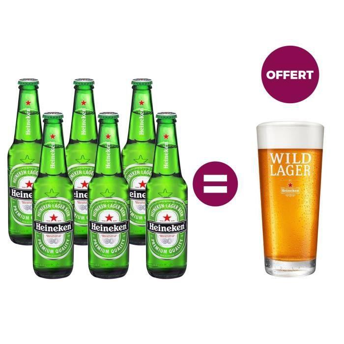 Heineken Biere Blonde 6 X 33 Cl 1 Verre Offert Achat Vente Biere Heineken Biere 6x33cl Verre Cdiscount