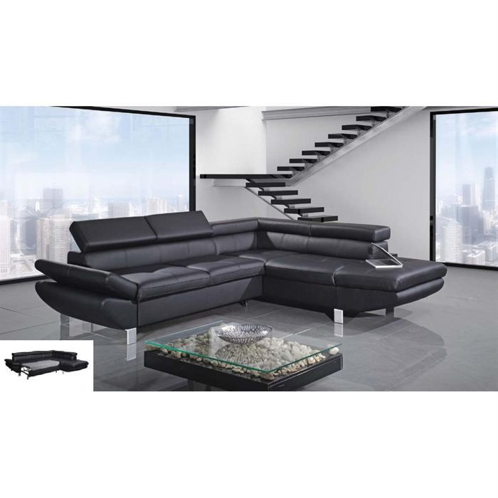 Canape d angle convertible droit revetement pu achat vente canap sofa - Cdiscount canape angle convertible ...