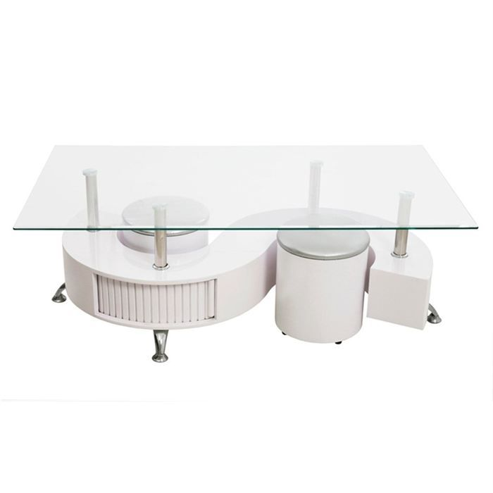table basse blanche avec pouf table de lit a roulettes. Black Bedroom Furniture Sets. Home Design Ideas