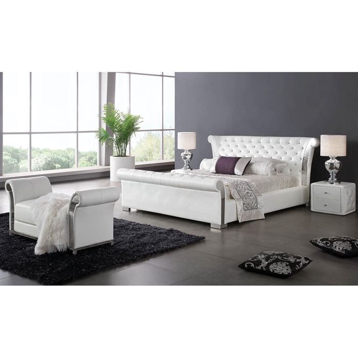 structure de lit blanc avec tete de lit et coffre achat vente structure de lit cdiscount. Black Bedroom Furniture Sets. Home Design Ideas