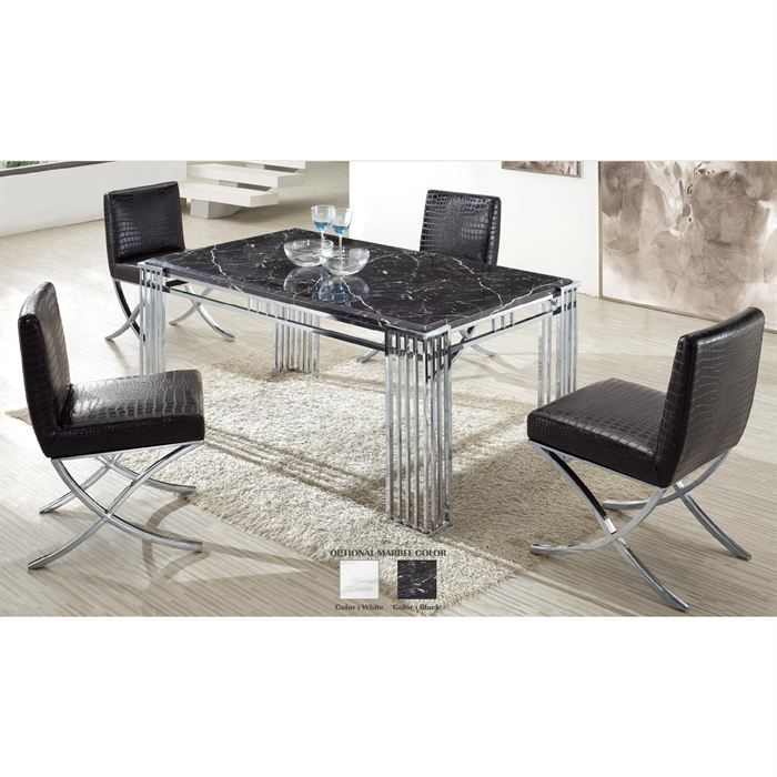 table de repas en marbre noir et chrome achat vente table a manger sans chaise table de. Black Bedroom Furniture Sets. Home Design Ideas
