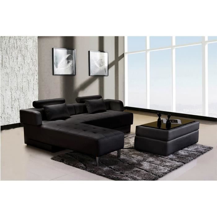 canap d 39 angle reversible convertible cuir pouf coffre. Black Bedroom Furniture Sets. Home Design Ideas