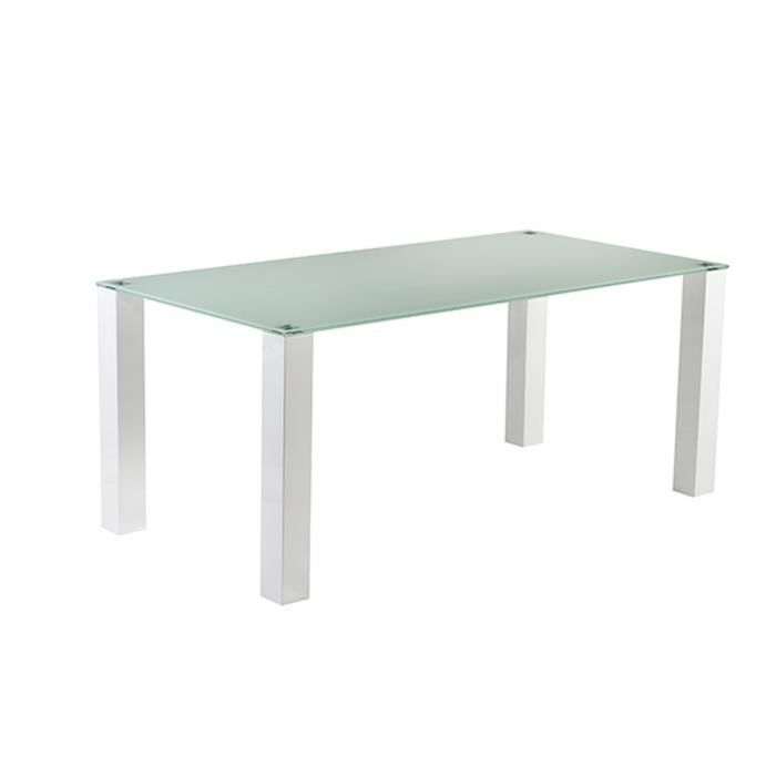 Lanyon table manger en m tal et verre tremp 8 personnes 180x90 cm laqu - Table verre et metal ...