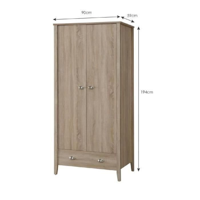armoire penderie 90 cm achat vente armoire penderie 90 cm pas cher cdiscount. Black Bedroom Furniture Sets. Home Design Ideas
