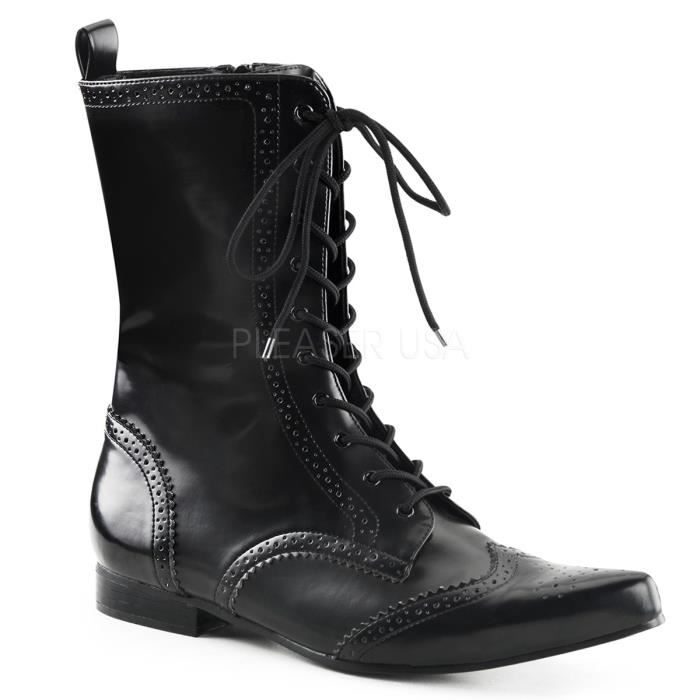 Demonia BROGUE-10 1 Inch Block Heel, Wingtip Lace-Up Mid-Calf Oxford Boot