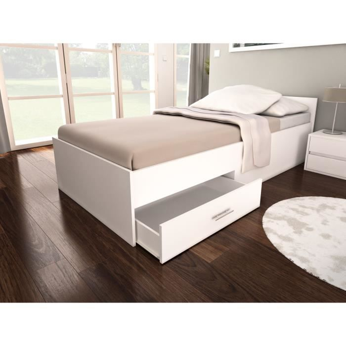 pop structure de lit enfant tiroir 90x200 blanc achat. Black Bedroom Furniture Sets. Home Design Ideas