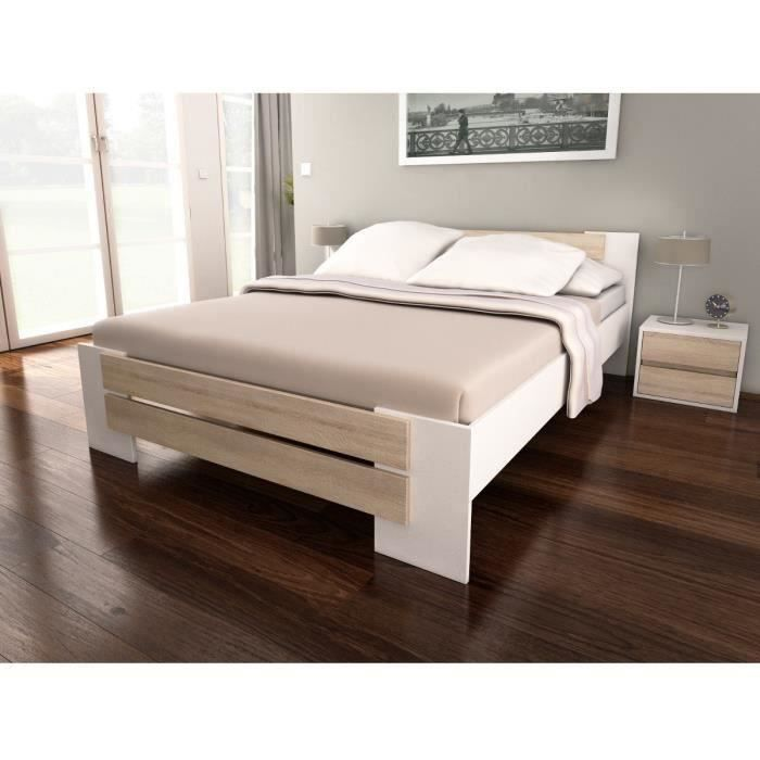 Mao lit adulte contemporain m lamin blanc et d cor ch ne for Meuble chambre adulte contemporain