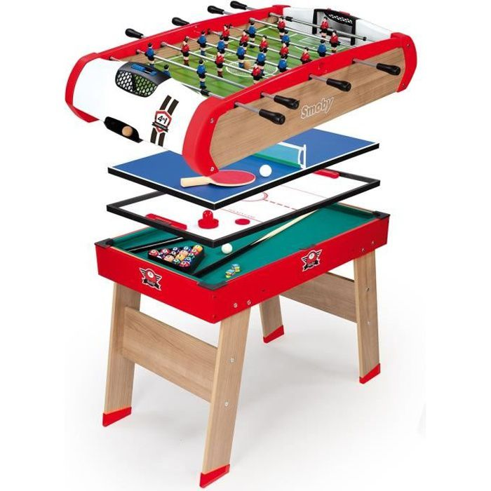 Smoby table multi jeux powerplay billard babyfoot palais ping pong achat - Table multi jeux 5 en 1 ...