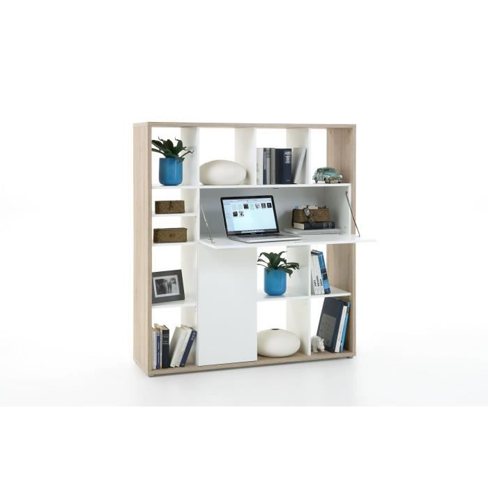 viano bureau avec tag res ch ne blanc achat vente. Black Bedroom Furniture Sets. Home Design Ideas
