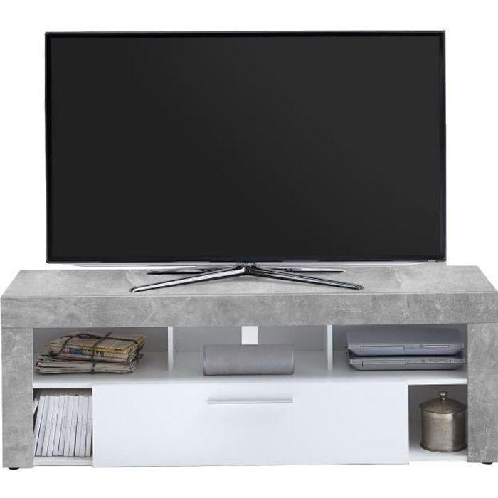 MEUBLE TV VIBIO Meuble TV contemporain mélaminé décor gris e