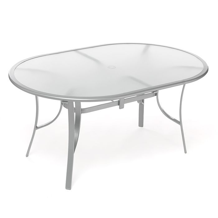 paraiso table ovale verre acier 160 cm gris achat vente table de jardin paraiso table ovale. Black Bedroom Furniture Sets. Home Design Ideas
